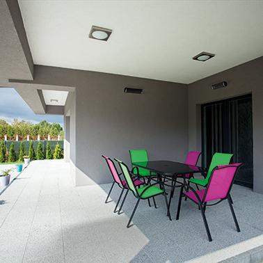 Herschel Aspect Black Far Infrared Indoor Space Heater Courtyard Installation