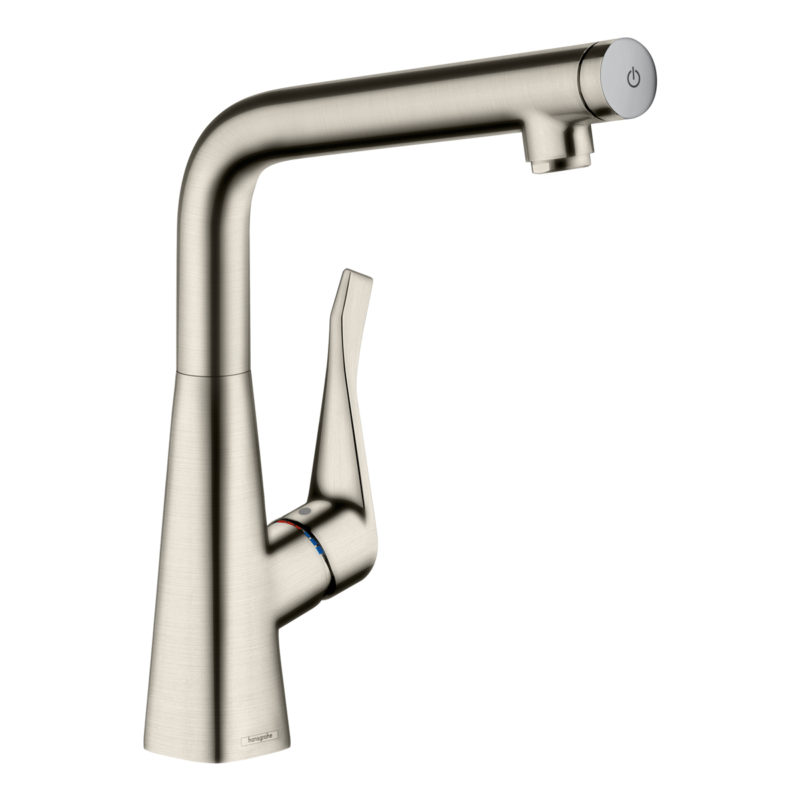 hansgrohe Metris Select Single Lever Swivel Spout 320 Stainless Steel Kitchen Mixer