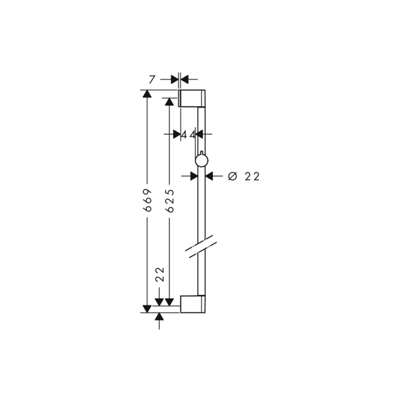 hansgrohe Unica 'Croma Shower Bar 0.65m - 26505000 - Dimensions