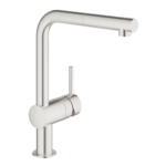 Grohe Minta with Pull-out Mousseur Single Lever Swivel L Spout 360 Supersteel-Main
