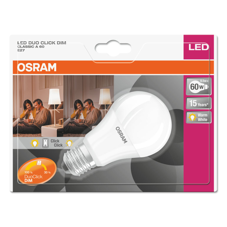 Osram LED Duo Click Dim Bulb Frosted E27 8.5W 4052899960329 Pack