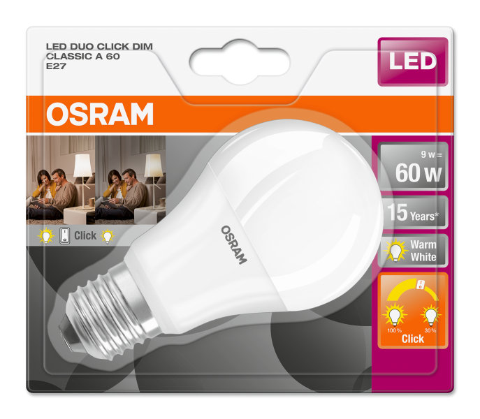 osram led duo click dim classic a bulb frosted e27 9w 2700k. Black Bedroom Furniture Sets. Home Design Ideas