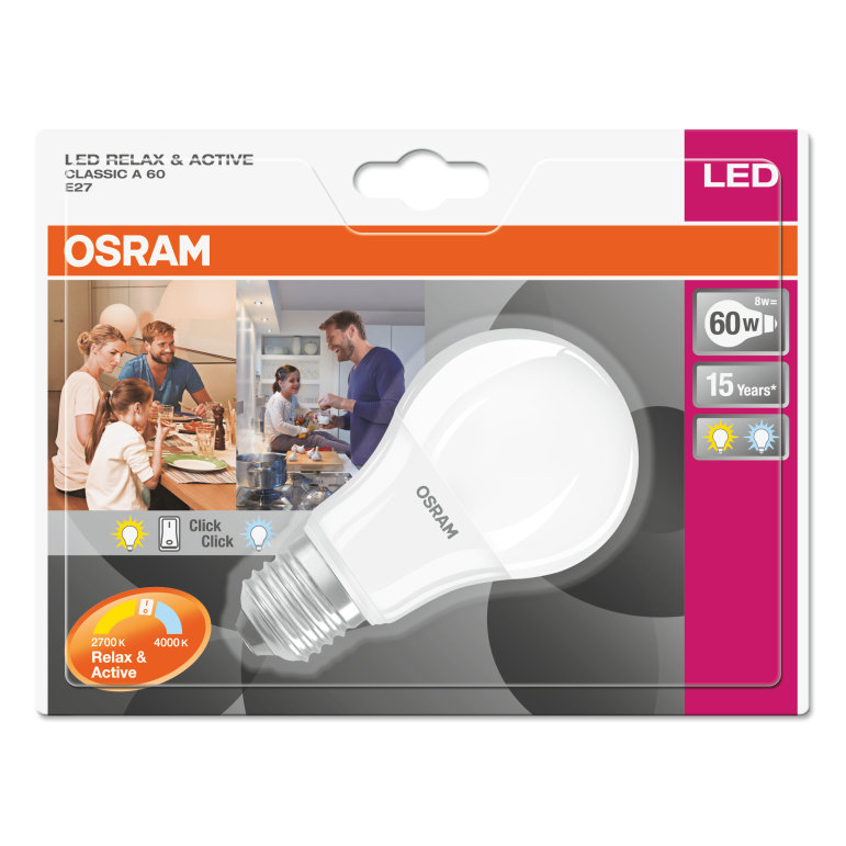 Osram LED Relax and Active Bulb Frosted E27 8W 4058075037571 Pack
