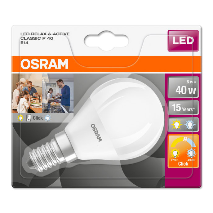 Osram LED Relax and Active Classic P Mini Globe Bulb Frosted E14 5W 4058075813618 Pack