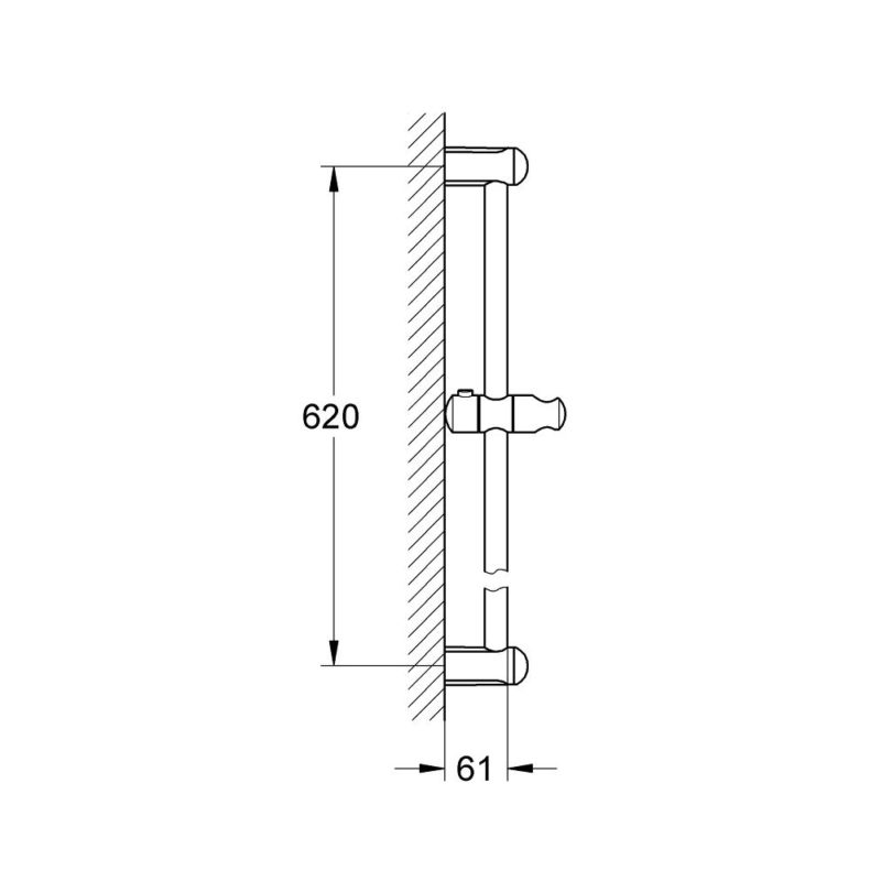Grohe New Tempesta Shower Bar 0.6m 27523000 Dimension