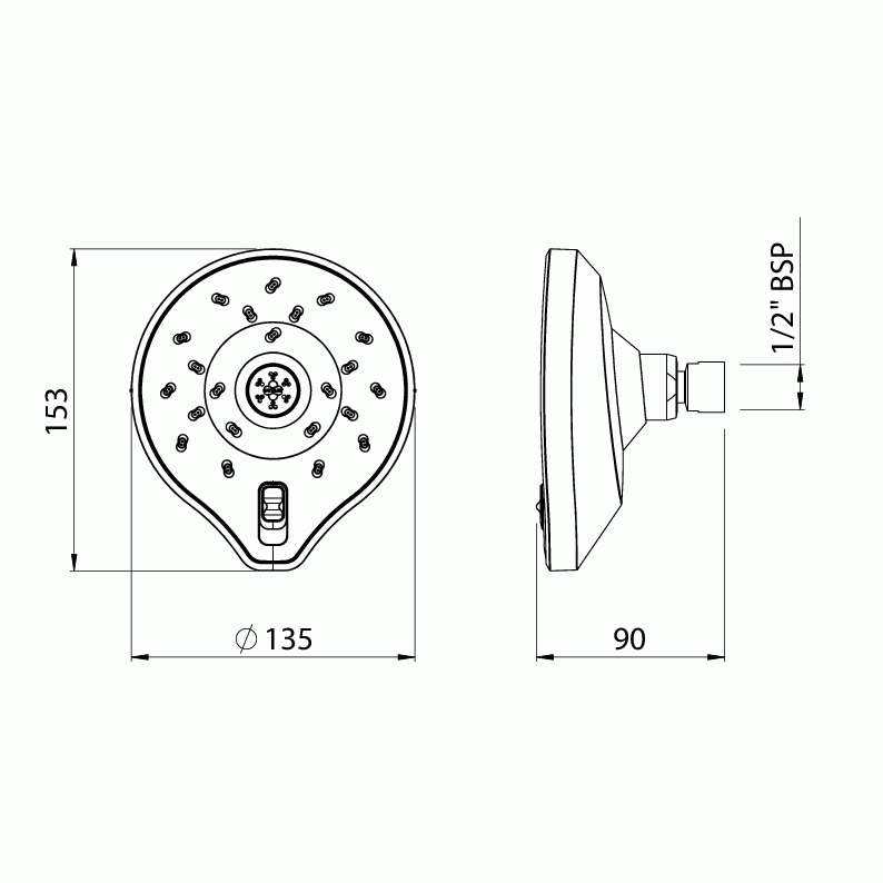 Methven Kaha Satinjet Shower Head KOWSCPUK - Dimension