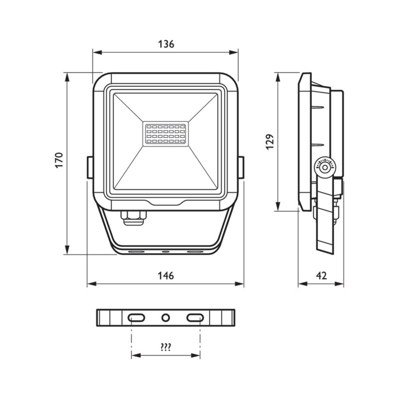 Philips BVP105 LEDINAIRE LED Floodlight 10W 912401483116 - Dimension