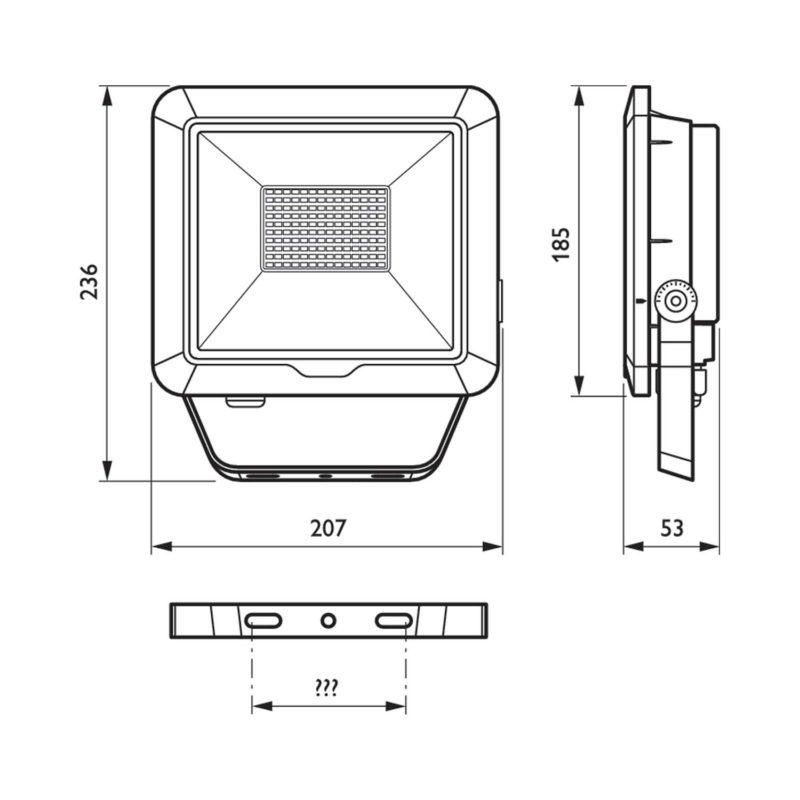 Philips BVP105 LEDINAIRE LED Floodlight 50W 912401483118 - Dimension