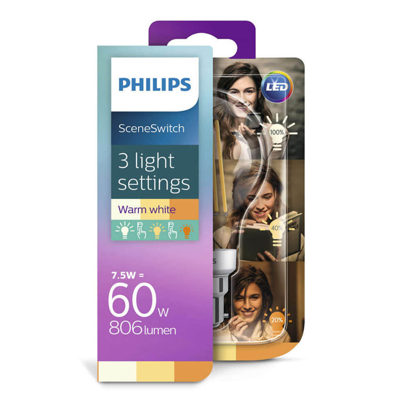 Philips SceneSwitch LED Filament Bulb A60 929001383901 Packaging