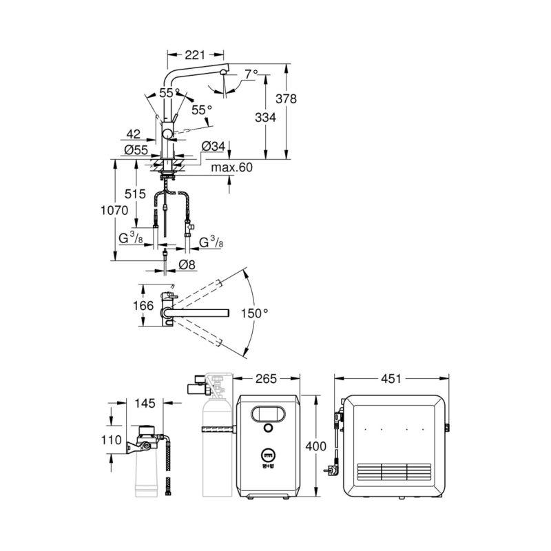 Grohe Blue Kitchen Mixer Tap 31347DC3 Dimensions