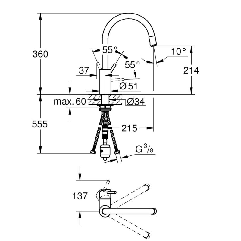 Grohe Concetto Single Lever Swivel Spout 360 Kitchen Tap - 32663003 - Dimensions