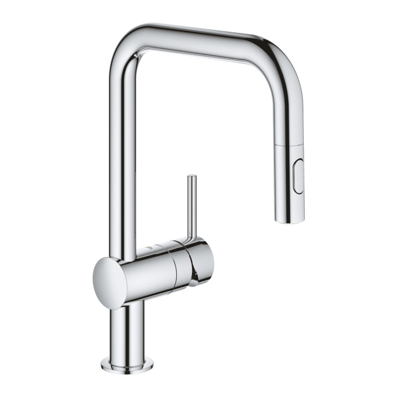 Grohe Minta with Pull-out Spray Single Lever Swivel U Spout Chrome Kitchen Mixer Tap - 32322002 - Main