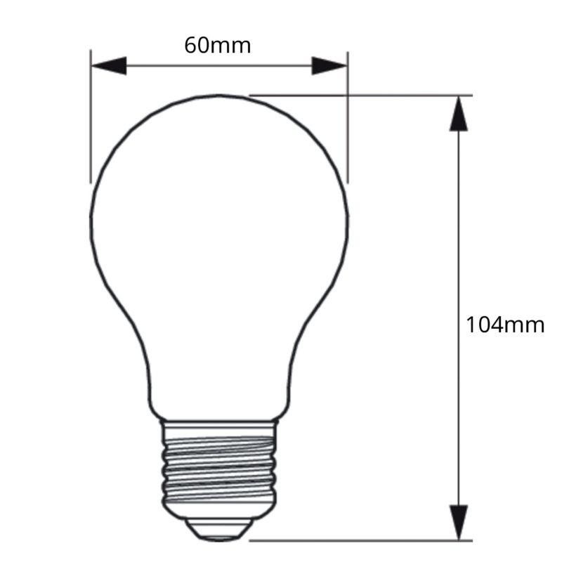 Philips Decorative LED Filament Bulb Clear A60 8W 929001888902 - Dimension