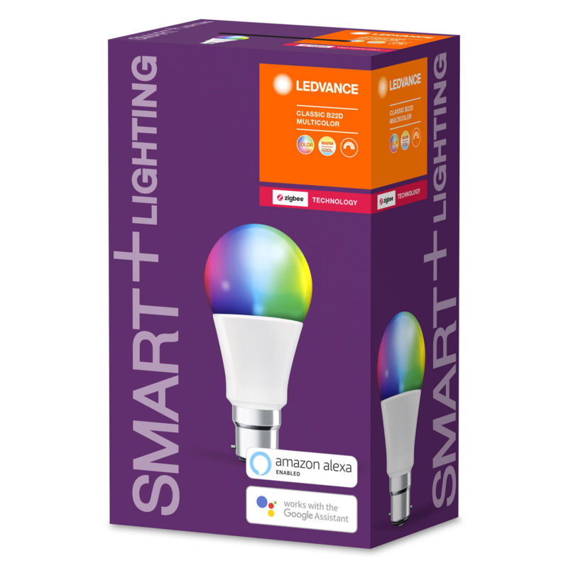 Ledvance Smart+ LED A60 Bulb B22 10W Multicolour RGBW ZigBee - 4058075208407 - Side