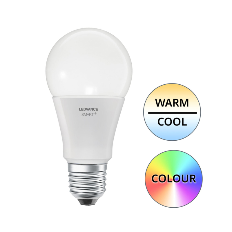 Ledvance Smart+ LED A60 Bulb E27 10W Multicolour RGBW - Main1