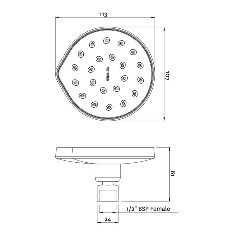 Methven Kiri MK2 Satinjet Rose Wall Mounted Showerhead Chrome-KRWSCPUK-Dimensions