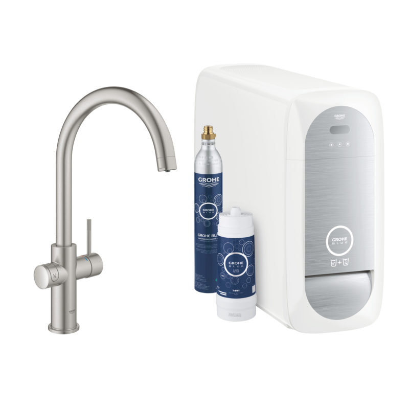 Grohe Blue Home C Spout Swivel 150 Supersteel Kitchen Mixer Tap - 31455DC1 - Main