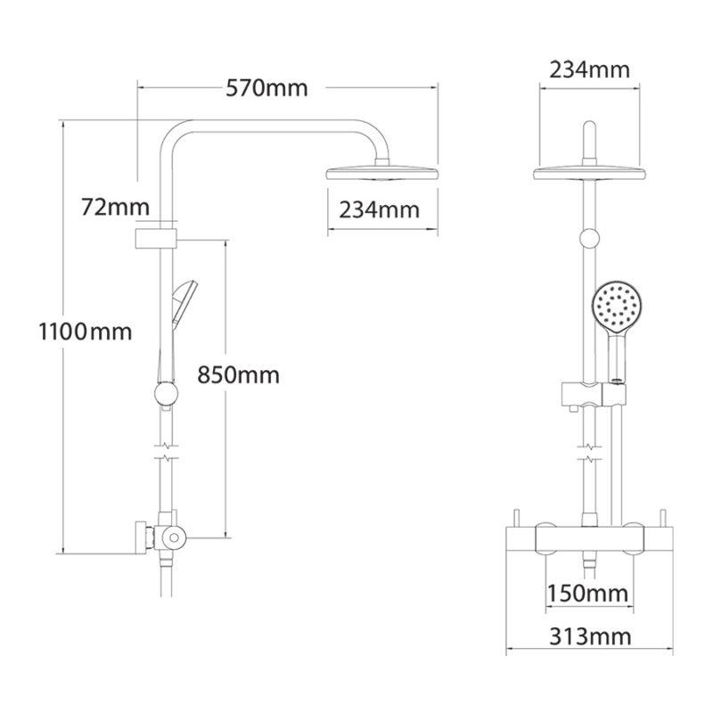 Methven Kiri MK2 Satinjet Shower Bar Chrome with Diverter-KRCTADEF-Dimensions