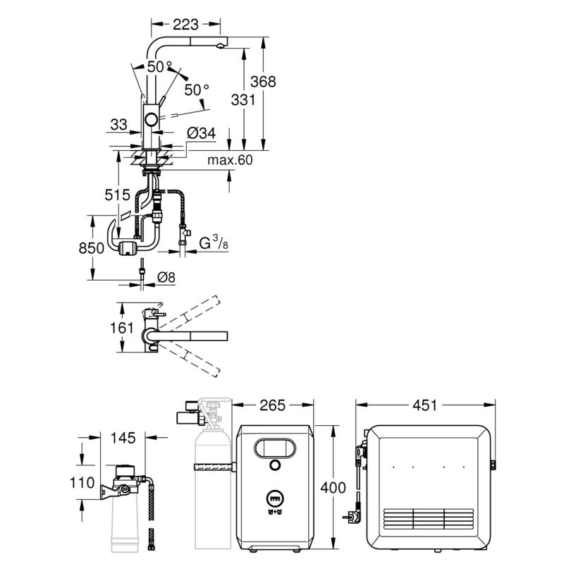 Grohe Blue Professional Single Lever Swivel 150 L Spout Chrome Kitchen Tap - 31326002 - Dimension