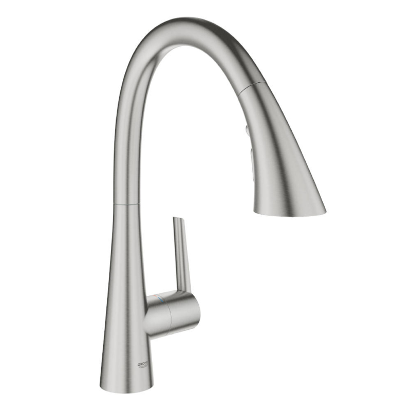 Grohe Zedra with Pull-out Spray Single Lever Swivel C Spout 360 Supersteel Kitchen Mixer Tap 32294DC2 Main