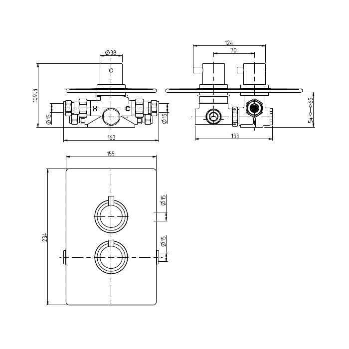 Methven Kaha Thermostatic Mixer Two Outlet for Concealed Installation Matte Black-KAHA_2VDIVBK-Dimensions