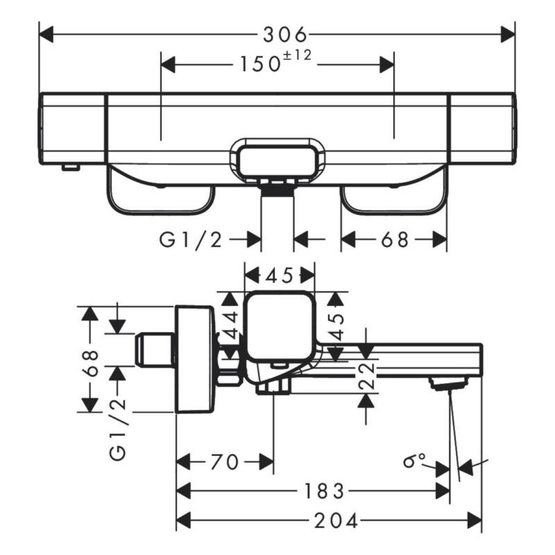 hansgrohe Ecostat E Thermostatic Bath Mixer-15774000-Dimensions.jpg