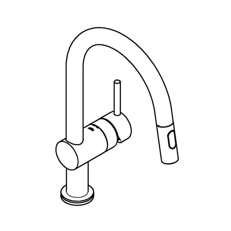 Grohe Minta Touch Sink Mixer Single Lever 12 31358002 line drawing