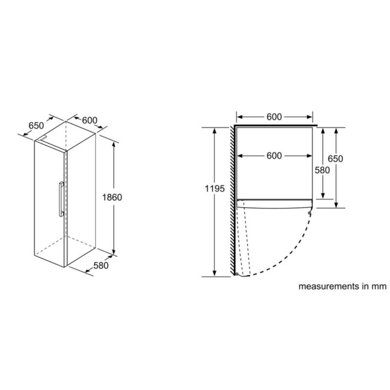 Bosch Serie 6 346 L Fridge KSV36AW4PG Dimensions