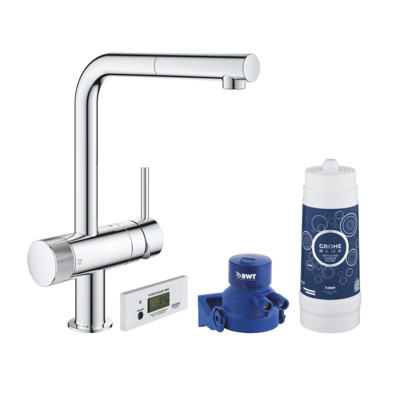 Grohe Blue Pure Minta with Pull-out L Spout Swivel 90 Kitchen Mixer Tap Chrome 30382000 main