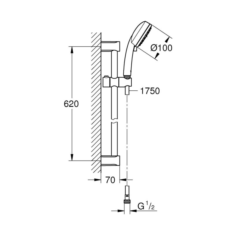 Grohe Tempesta Cosmopolitan 100 Shower Set 0.62m Chrome 2757820E dimensions