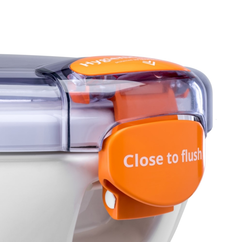 Propelair WC Mk2 - Clear Lid - Orange Latch - Close to Flush - 100-009 - latch off right
