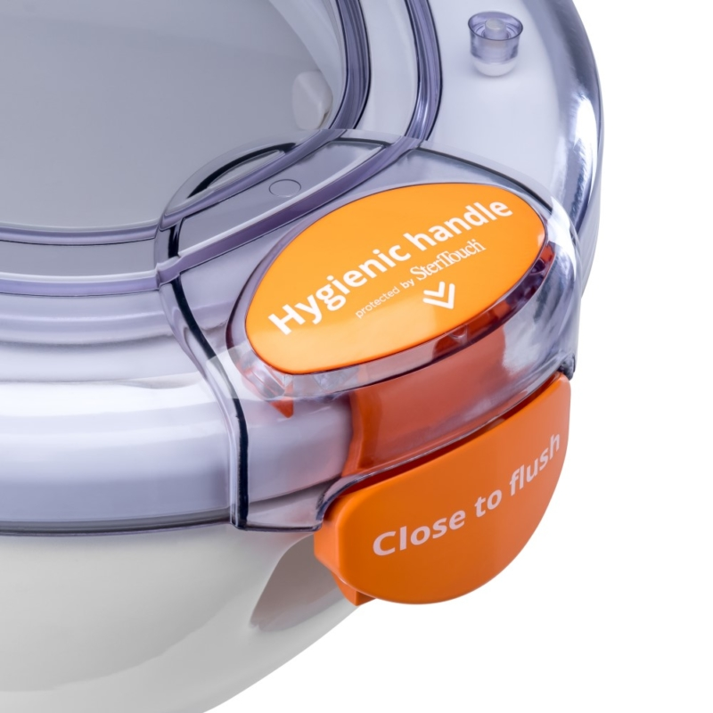 Propelair WC Mk2 - Clear Lid - Orange Latch - Close to Flush - 100-009 - latch off right down