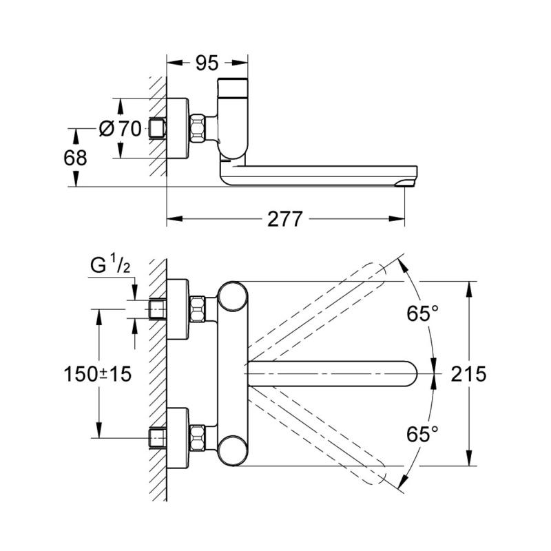 Grohe Eurosmart Cosmopolitan T Self-Closing Basin Mixer-36319000-Dimensions