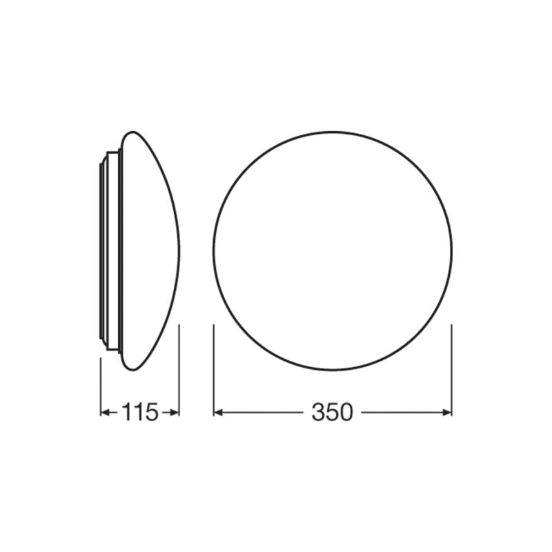 Ledvance LED Surface Circular Bulkhead 18W White-4058075080034-Dimensions