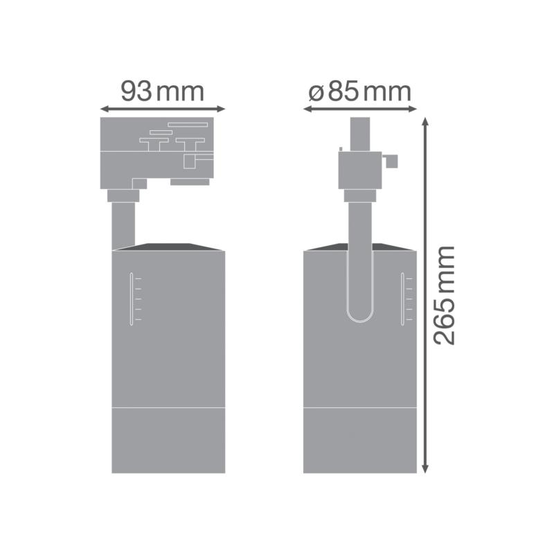 Ledvance Zoom Tracklight 25W 3000K-4058075335769-Dimensions
