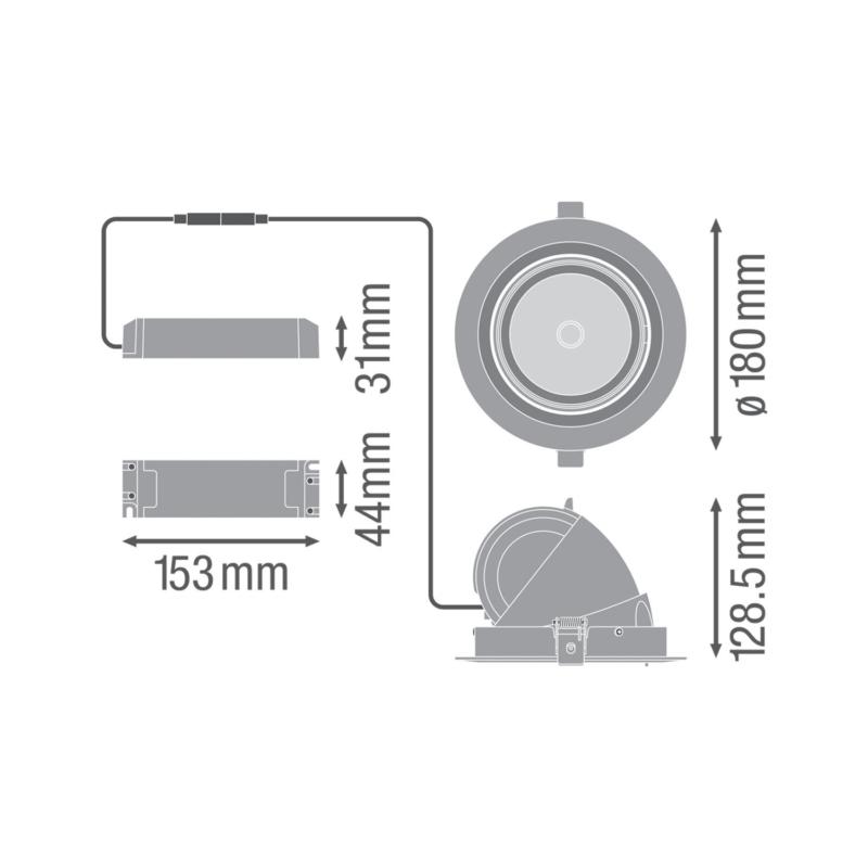 Ledvance LED Spot Vario 35 W-Dimensions