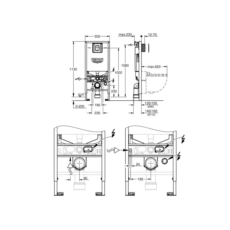 Grohe Sensia Arena Rapid SLX Cistern and Frame-Dimensions