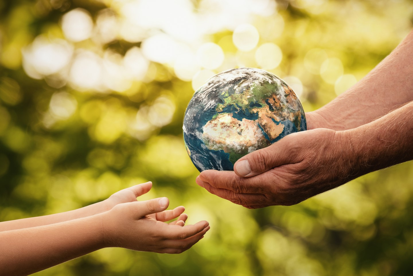 holding the earth stock image