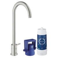 Grohe Blue Mono Pure Swivel 150 Supersteel Kitchen Mixer Tap