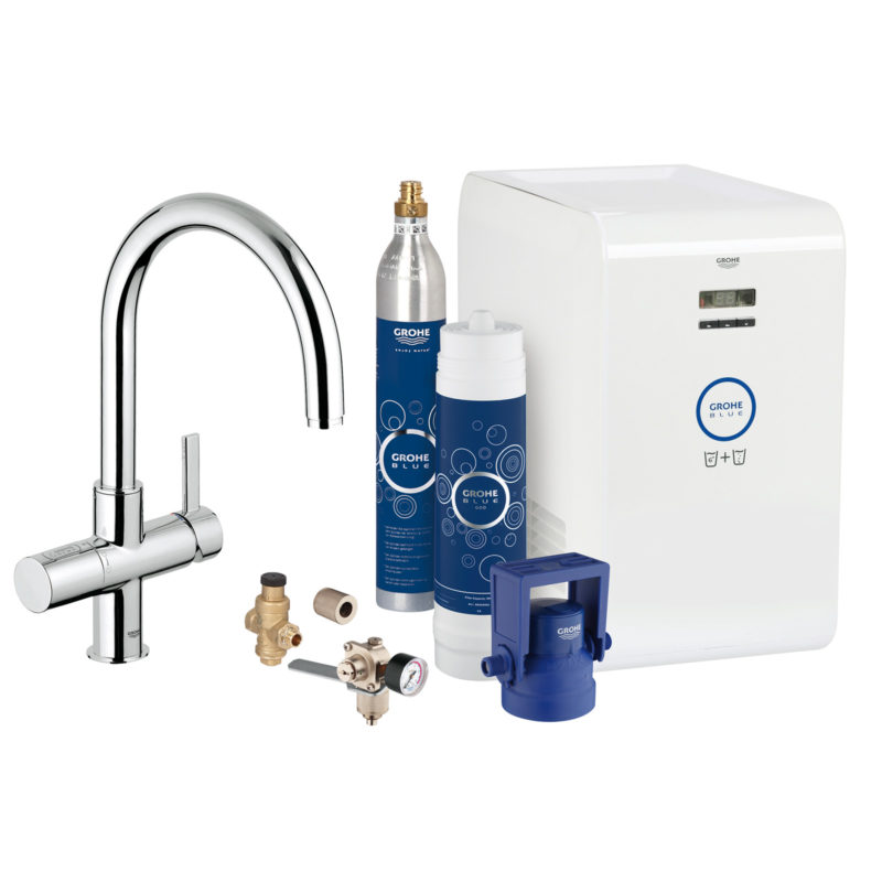 Grohe Blue Professional Single Lever Swivel 180 C Spout Chrome Kitchen Mixer Tap