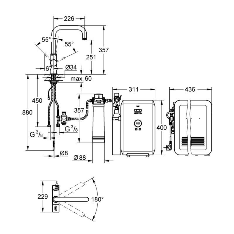 Grohe Blue Professional Single Lever Swivel 180 U Spout Kitchen Mixer Tap.dimension