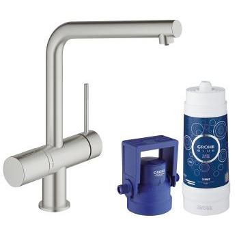 grohe blue minta pure single lever swivel 150 supersteel kitchen mixer tap. Black Bedroom Furniture Sets. Home Design Ideas