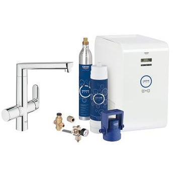 Grohe Blue K7 Chilled & Sparking Single Lever Swivel 140 Chrome Kitchen Mixer Tap