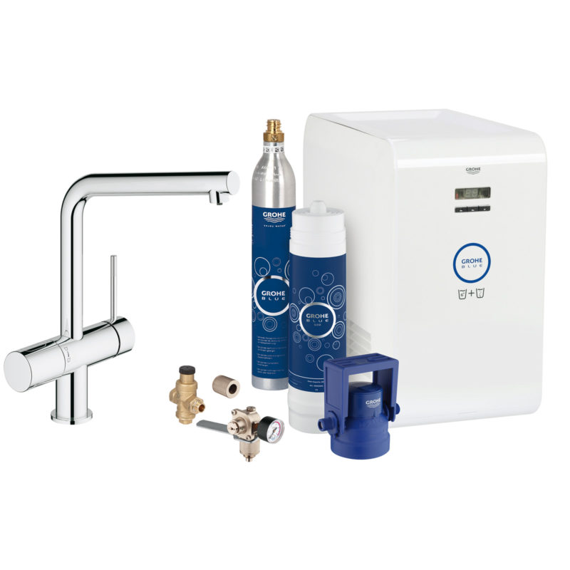 Grohe Blue Minta Chilled & Sparking Single Lever Swivel 150 Chrome Kitchen Mixer Tap