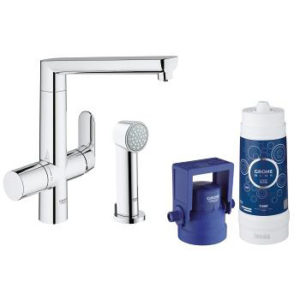 Grohe Blue K7 Pure Single Lever Swivel and Spray 140 Chrome Kitchen Mixer tap