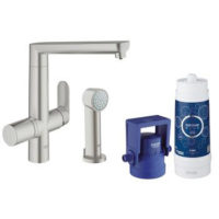 Grohe Blue K7 Pure Single Lever Swivel and Spray 140 Supersteel Kitchen Mixer tap