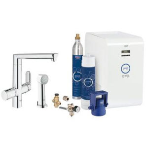 Grohe Blue K7 Chilled & Sparking Single Lever Swivel 140 plus Spray Chrome Kitchen Mixer Tap