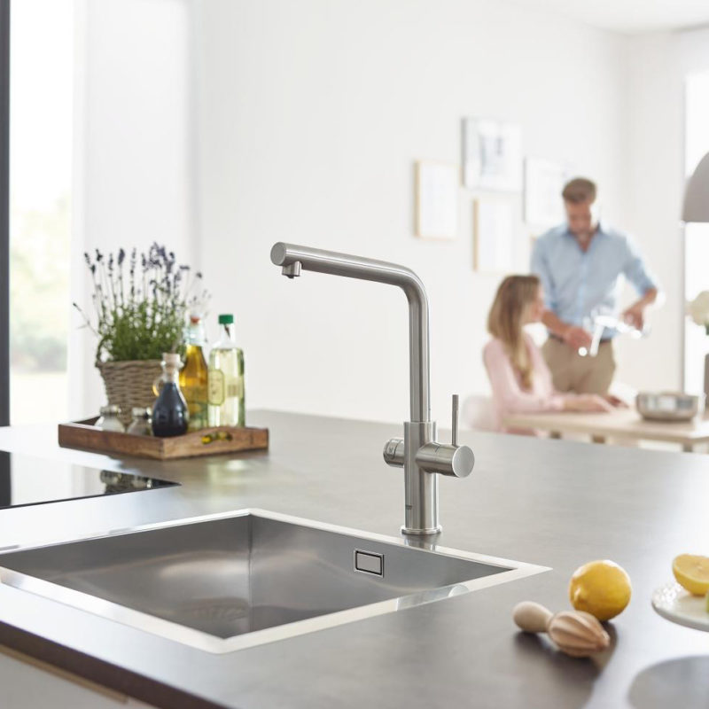 Grohe Blue Home L Spout Swivel 150 Chrome Kitchen Mixer Tap.lifestyle3