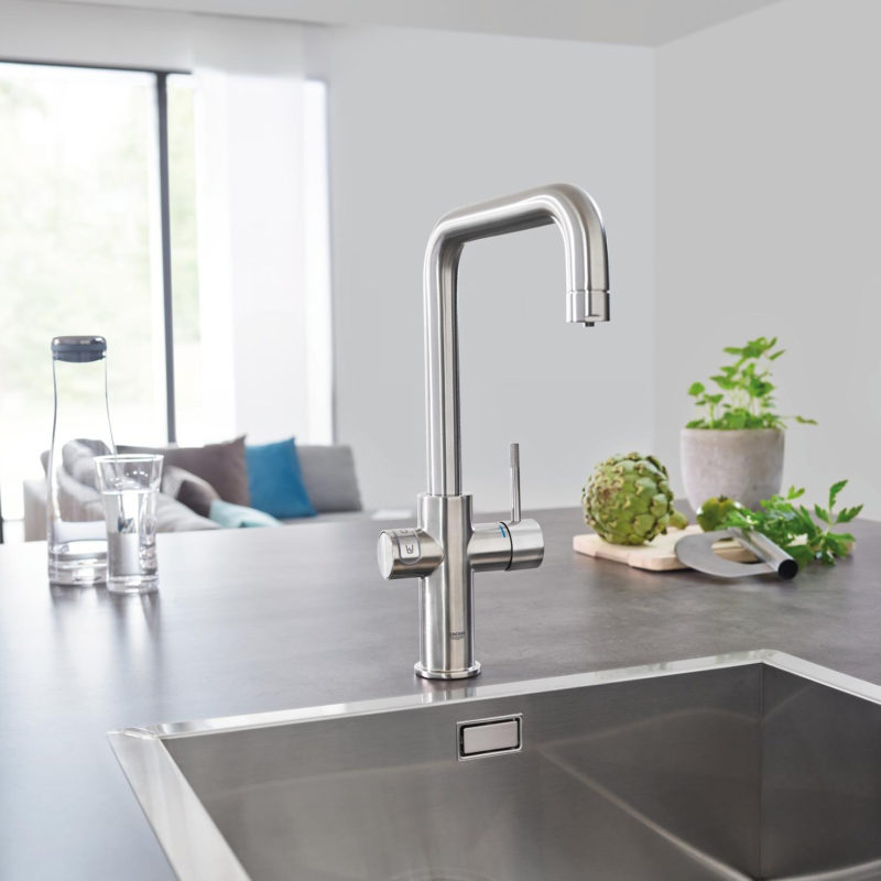 Grohe Blue Home U Spout Swivel 150 Chrome Kitchen Mixer Tap.lifestyle1