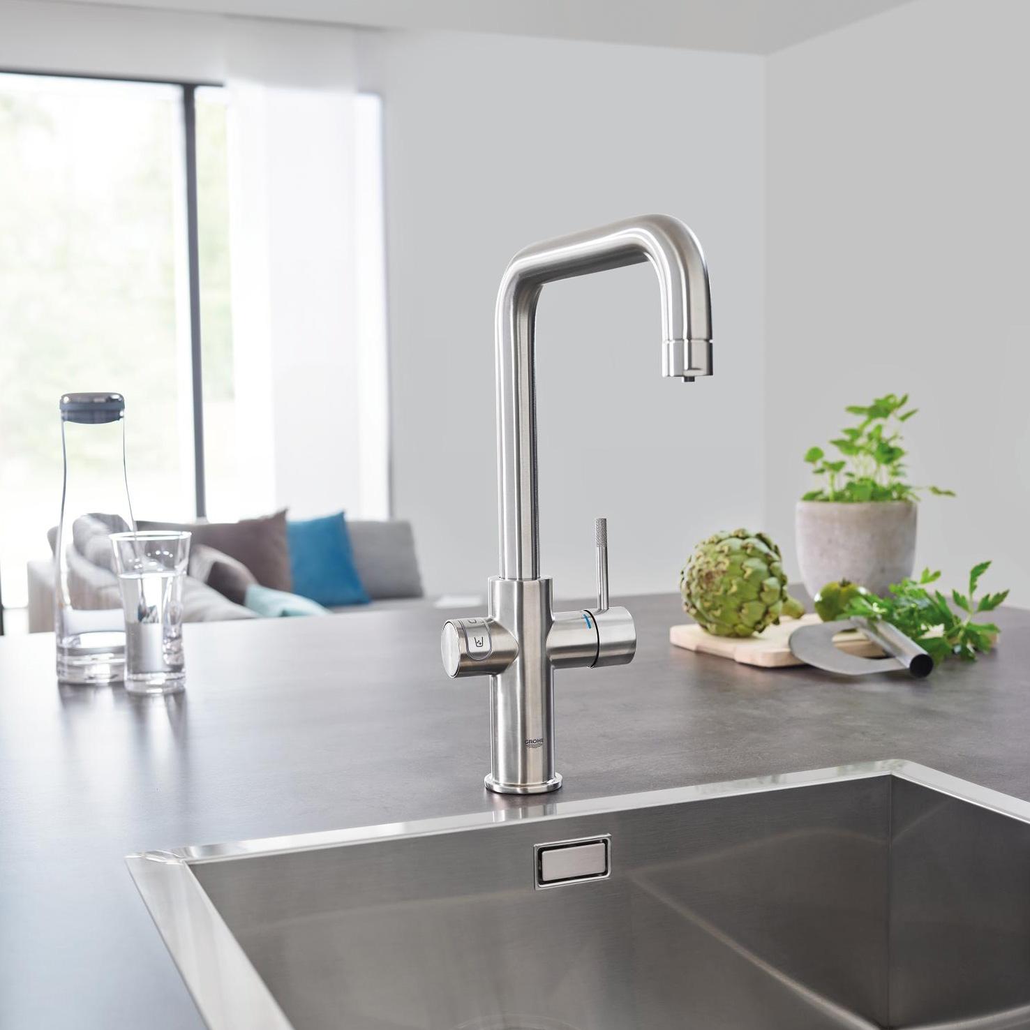grohe blue home u spout swivel 150 chrome kitchen mixer tap. Black Bedroom Furniture Sets. Home Design Ideas